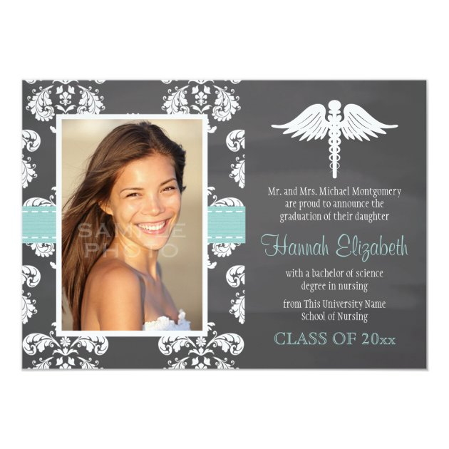 Aqua Chalkboard Nursing School Graduation 5x7 Paper Invitation Card