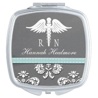 Aqua Chalkboard Registered Nurse RN Caduceus Makeup Mirror