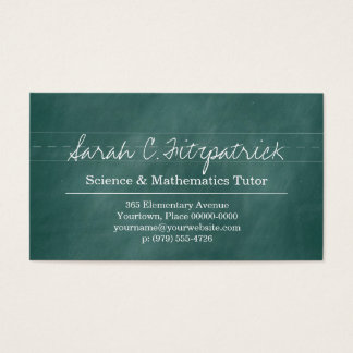 Aqua Chalkboard Teacher Tutor Business Card