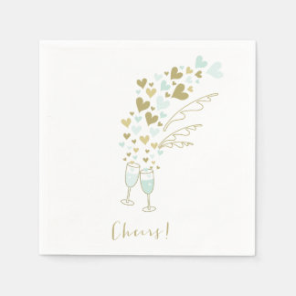 Aqua Champagne Cheers Engagement Wedding Party Paper Napkin