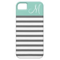 Aqua & Charcoal Preppy Stripes Custom Monogram Iphone Se/5/5s Case at Zazzle