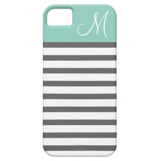 Aqua & Charcoal Preppy Stripes Custom Monogram iPhone SE/5/5s Case