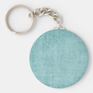 Aqua Chenille Basic Round Button Keychain