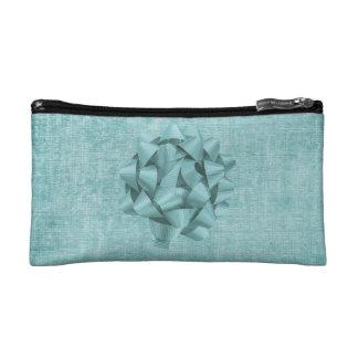 Aqua Chenille Fabric and Big Bow Cosmetic Bag