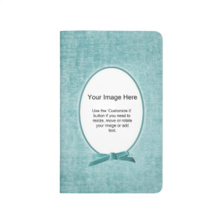 Aqua Chenille Fabric Oval Photo Frame Template Journal