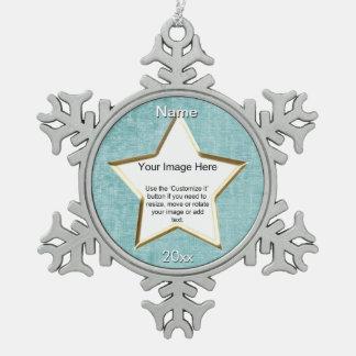 Aqua Chenille Star Shape Photo Frame Template Snowflake Pewter Christmas Ornament