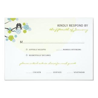 Aqua Cherry Blossoms Love Birds Wedding RSVP Card