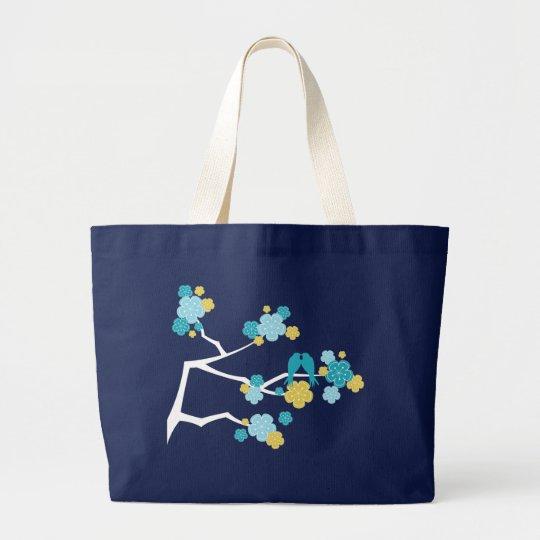 Aqua Cherry Blossoms Love Birds Wedding Tote Bag