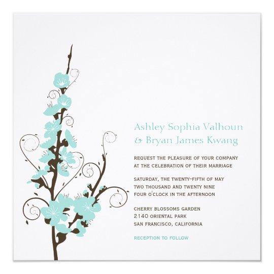 Aqua Cherry Blossoms Sakura Swirls Wedding Invite