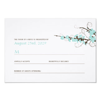Aqua Cherry Blossoms Sakura Swirls Wedding RSVP Card