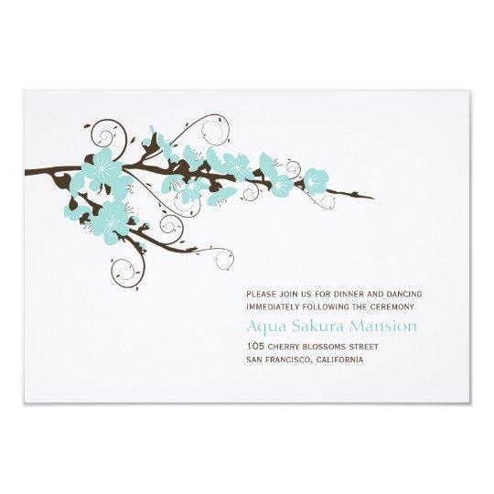 Aqua Cherry Blossoms Sakura Wedding Reception Card