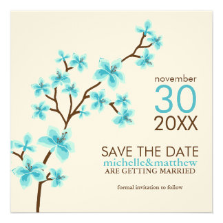 Aqua Cherry Blossoms Save the Date Announcement