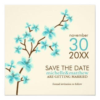 Aqua Cherry Blossoms Save the Date Announcement