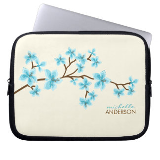 Aqua Cherry Blossoms Tree Computer Sleeve