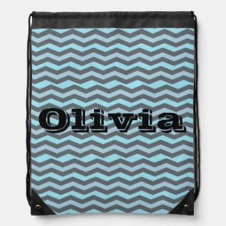 Aqua Chevron and Fabulous Drawstring Bag