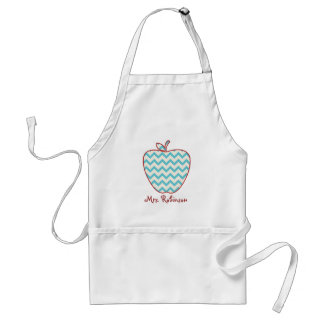 Aqua Chevron Apple Teacher Adult Apron