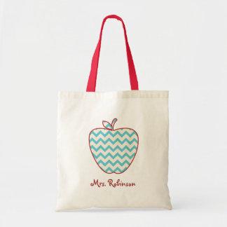 Aqua Chevron Apple Teacher Bag