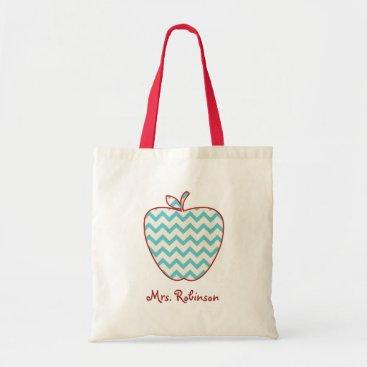 thepinkschoolhouse Aqua Chevron Apple Teacher Bag
