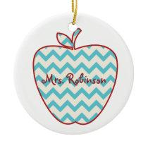 Aqua Chevron Apple Teacher Ceramic Ornament