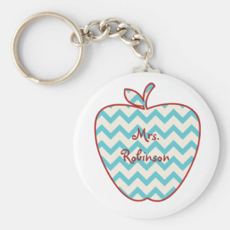 Aqua Chevron Apple Teacher Keychain