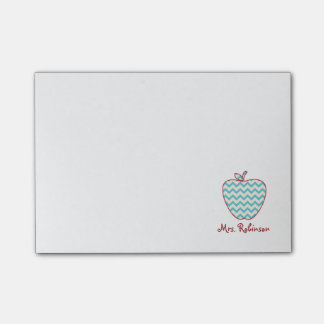 Aqua Chevron Apple Teacher Post-It Notes Post-it® Notes