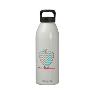 Aqua Chevron Apple Teacher Water Bottles