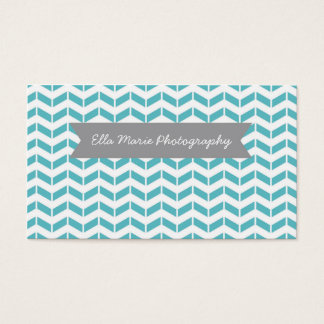 Aqua Chevron Business Card