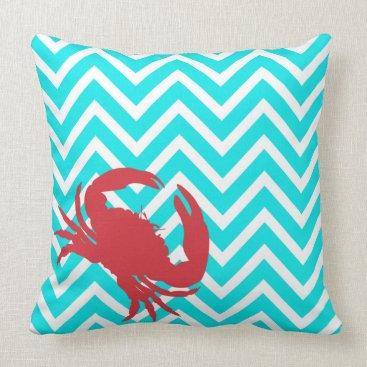 Beach Themed Aqua Chevron Crabby Chic Accent Pillow