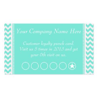 Aqua Chevron Discount Promotional Punch Card Double-Sided Standard Business Cards (Pack Of 100)