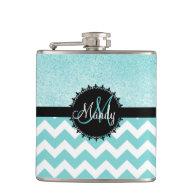 Aqua Chevron Glitter Monogram Flask