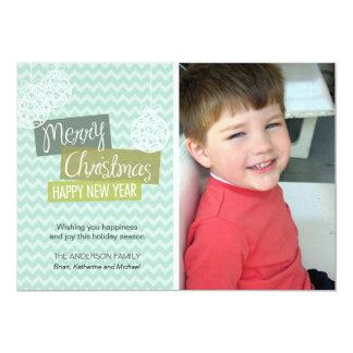 Aqua Chevron Ornamental Christmas Card