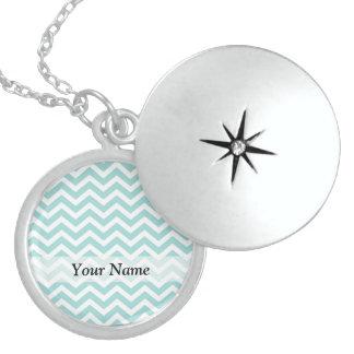 Aqua chevron pattern locket necklace