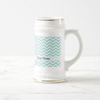 Aqua  chevron pattern 18 oz beer stein