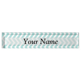 Aqua  chevron pattern name plate