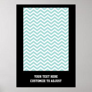 Aqua  chevron pattern poster