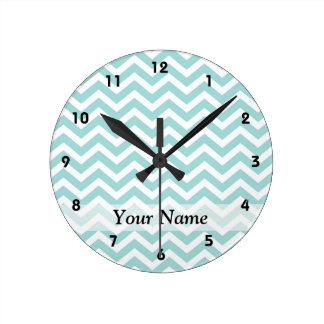 Aqua  chevron pattern round clock