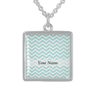 Aqua chevron pattern sterling silver necklace