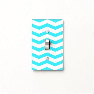 Aqua Chevron Patterned Light Switch Cover