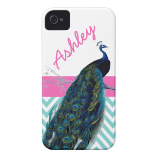 Aqua Chevron Pink Name Vintage Peacock iPhone 4 Case