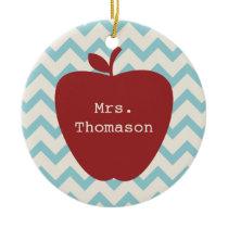 Aqua Chevron Red Apple Teacher Ceramic Ornament