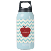 Aqua Chevron Red Apple Teacher Insulated Water Bottle