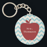 "Aqua Chevron Red Apple Teacher Keychain<br><div class=""desc"">A gift for teachers featuring an illustration of a red apple over an aqua chevron background.  Personalize with your name.</div>"