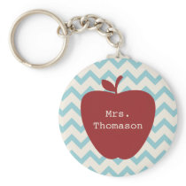 Aqua Chevron Red Apple Teacher Keychain
