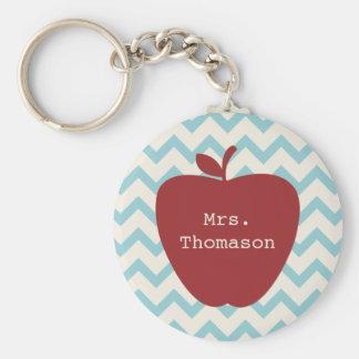 Aqua Chevron Red Apple Teacher Keychain