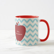 Aqua Chevron Red Apple Teacher Mug