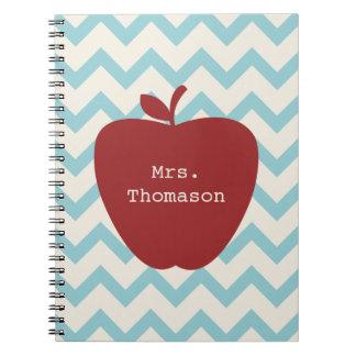 Aqua Chevron Red Apple Teacher Spiral Notebook