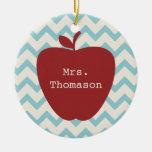 Aqua Chevron Red Apple Teacher Double-Sided Ceramic Round Christmas Ornament