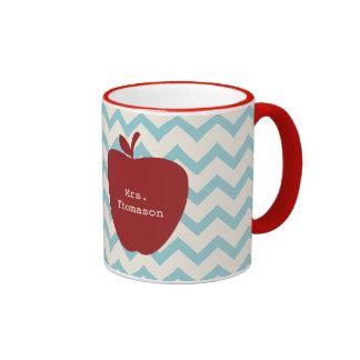 Aqua Chevron Red Apple Teacher Ringer Mug