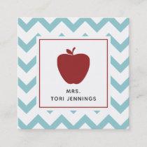 Aqua Chevron Red Apple Teacher Square Business Card