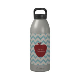 Aqua Chevron Red Apple Teacher Water Bottle
